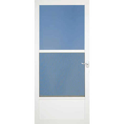 Larson Classic 36 In. W x 81 In. H x 1-1/4 In. Thick White Self-Storing Aluminum Storm Door