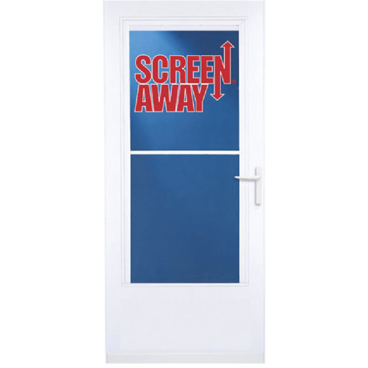 Larson Screenaway Life-Core 32 In. W x 80 In. H x 1 In. Thick White Mid View DuraTech Storm Door
