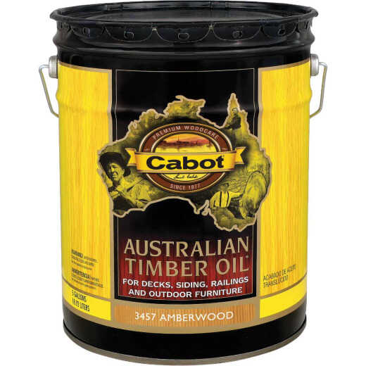 Cabot Australian Timber Oil Translucent Exterior Oil Finish, Amberwood, 5 Gal.