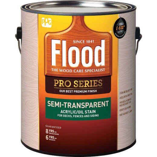 Flood Pro Series Acrylic/Oil Semi-Trasparent Deck Fence And Siding Exterior Stain, Neutral Base, 1 Gal.
